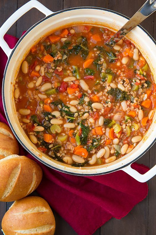 Mediterranean Kale, Cannellini and Farro Stew - Cooking Classy