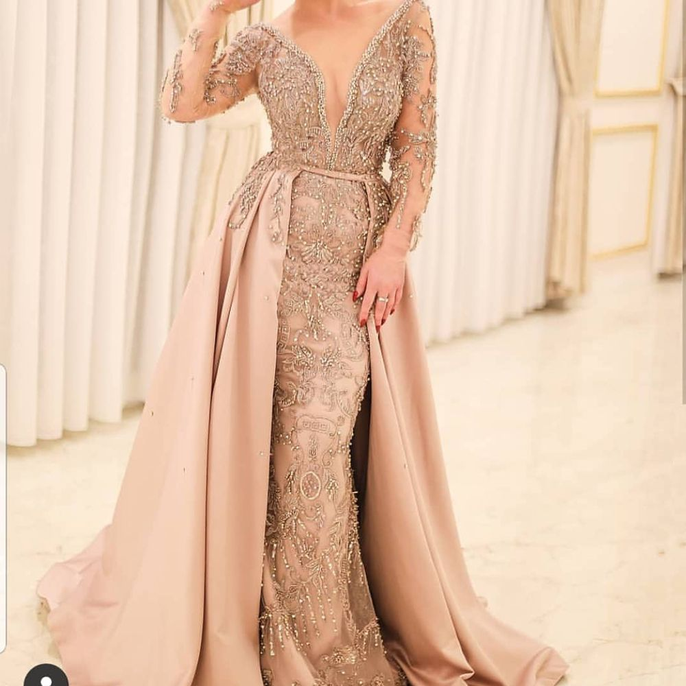 Champagne Prom Dresses 2019 Long Sleeve Beading Sequins Detachable Train Crystal Beading Evening Dresses Ar Champagne Prom Dress Sequin Evening Dresses Dresses [ 1000 x 1000 Pixel ]