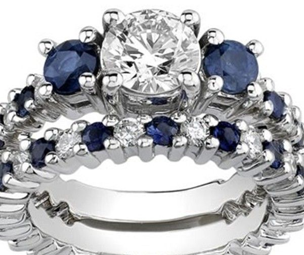 cool white gold diamond and sapphire engagement set ctw by novori - Sapphire And Diamond Wedding Rings