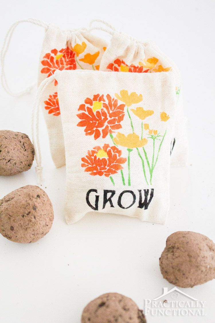 DIY Stenciled Garden Party Favor Bags | Favor bags, Seed bombs and ...