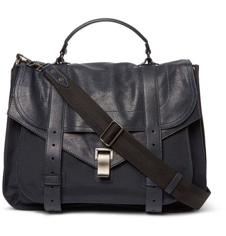 PS1 Extra Large Leather and Canvas Messenger Bag | MR PORTER ...