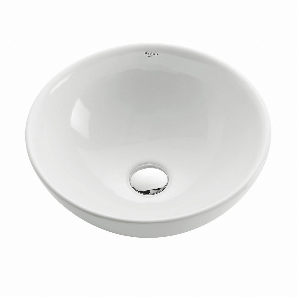 Kraus Soft Round Ceramic Vessel Bathroom Sink In White Kcv 141 In 2020 Sink Amazing Bathrooms Best Bathroom Designs