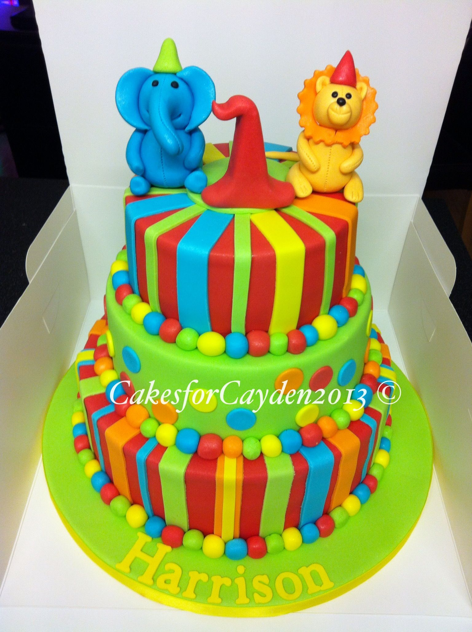 3 Tier 1st Birthday Cake Very Bright And Colourful And Perfect For