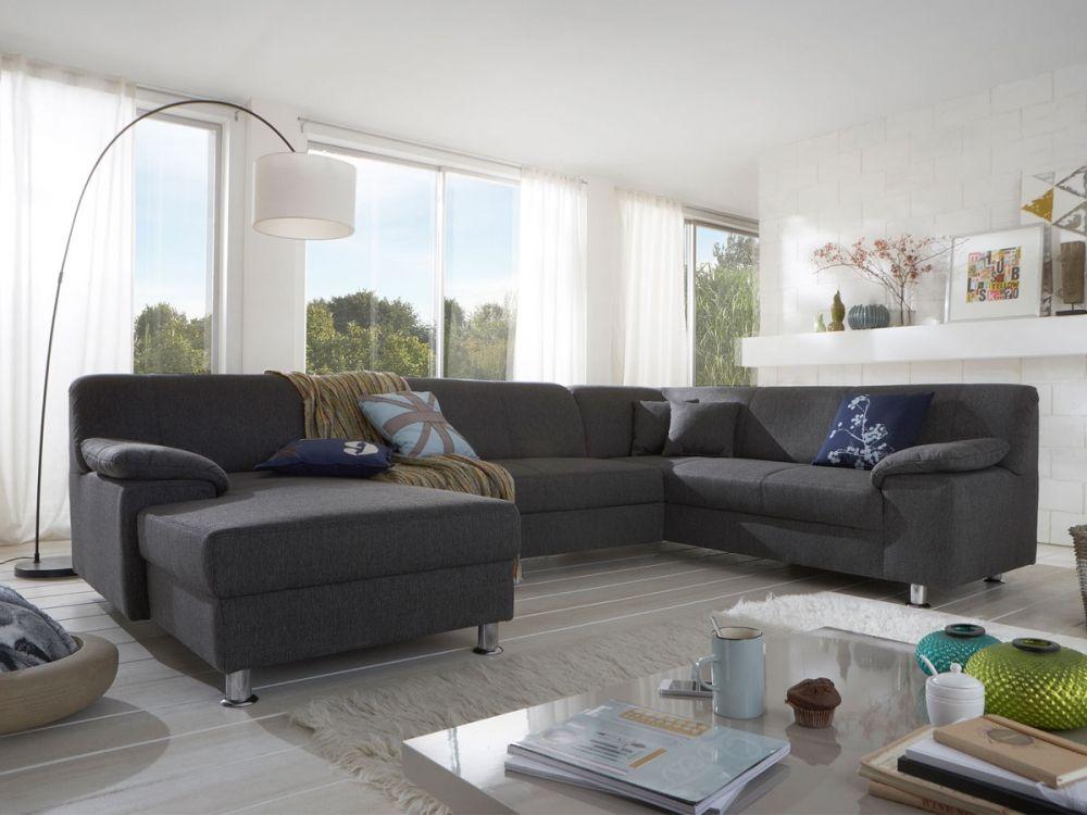 Almo u form mit hohen r cken grau wohnzimmer sofa for Wohnzimmer couch gunstig