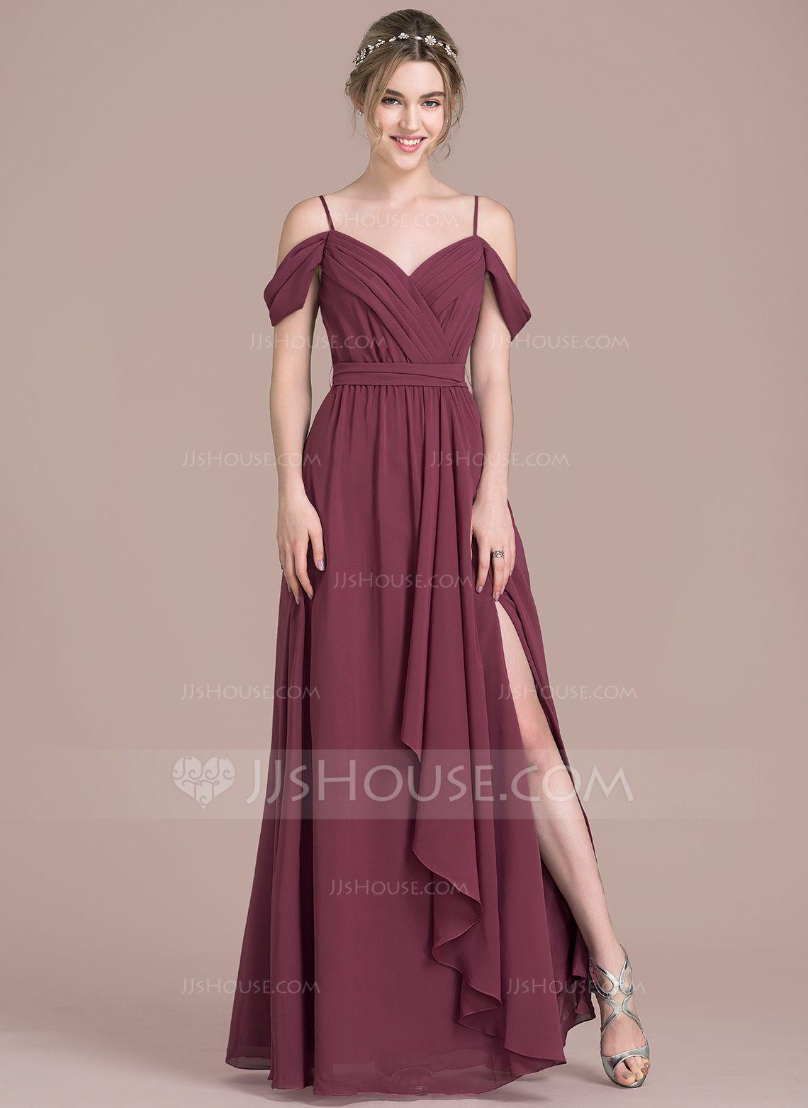 A-Line/Princess V-neck Floor-Length Chiffon Prom Dresses With Bow(s ...