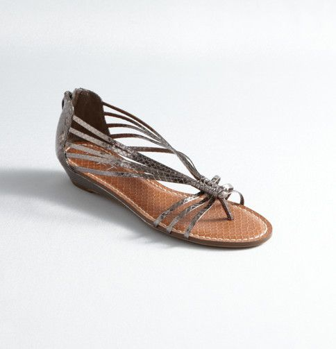 loft || drea metallic strappy low wedge sandals