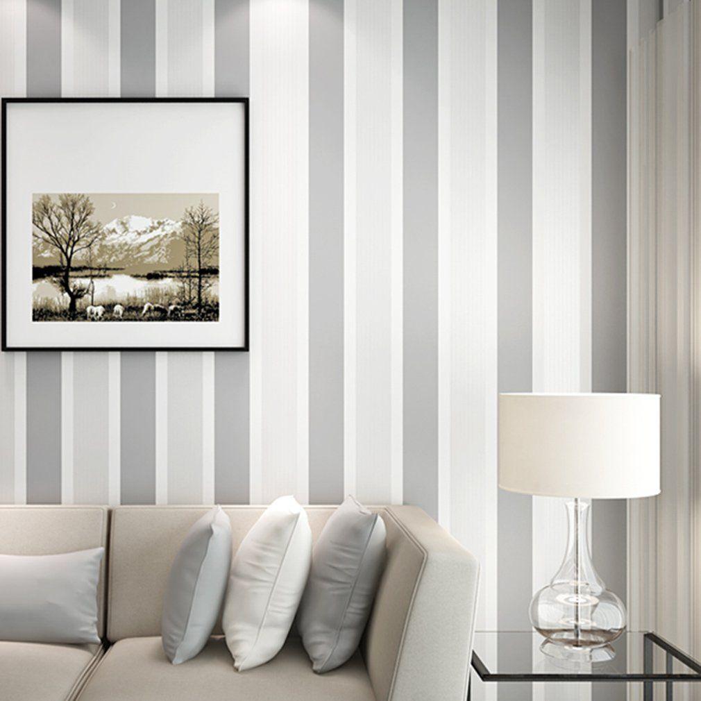Aruhe 10m elegante 3d papel pintado a rayas decorativo - Papel pared rayas verticales ...