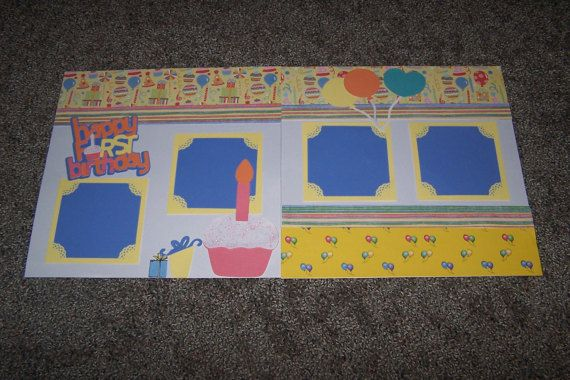 Premade Scrapbook Page Layout. Happy First by 1OfAKindCrafts