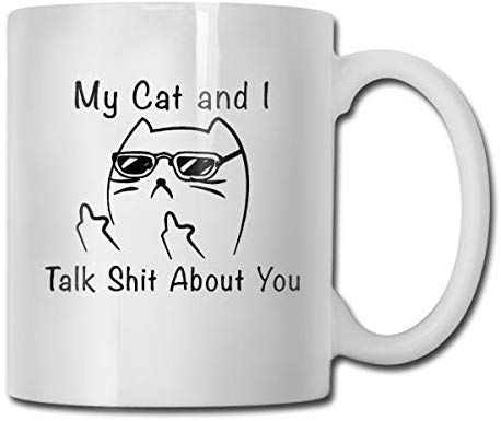Antspuent My Cat And I Talk Shit About You Funny Coffee Mug   11 Ceramic Coffee Cup   Best Gifts Idea For Christmas, Valentine And Birthday, Father's Day And Mother's Day Cup