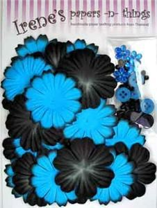 Mulberry Paper Flowers Etc - 40 - ELECTRIC BLUE & BLACK | eBay