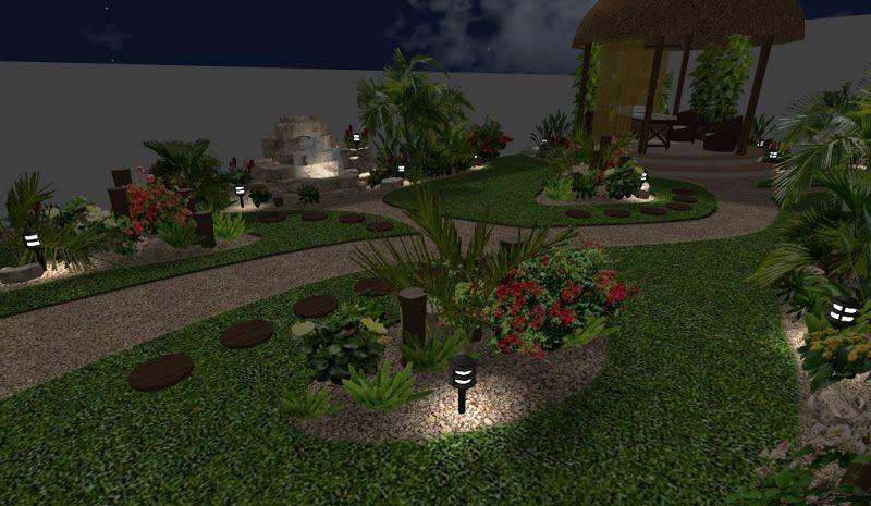 Dise o de jardin con fuente iluminado de noche arreglos - Fuentes solares para jardin ...