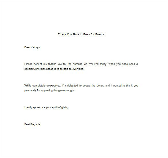 Thank You Note Boss Free Word Excel Pdf Format Download Letter