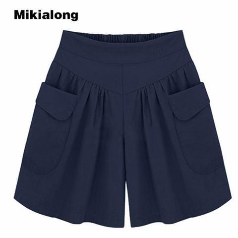 Mikialong XL-5XL Plus Size Chiffon Shorts Women 2017 Summer Loose Wide Leg Shorts Female High Waisted Shorts Pantalones Cortos #chiffonshorts