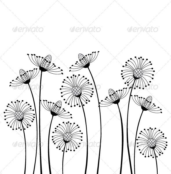 Drawing Stylized Cartoon Flowers Dandelions Painting Drawing