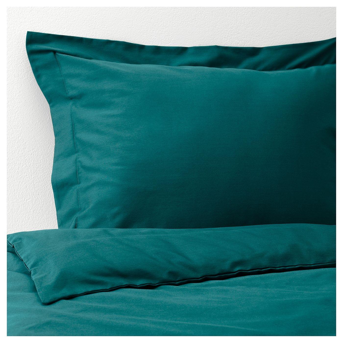 Luktjasmin Duvet Cover And Pillowcase S Dark Green Ikea Green Duvet Covers Duvet Covers Teal Duvet Cover