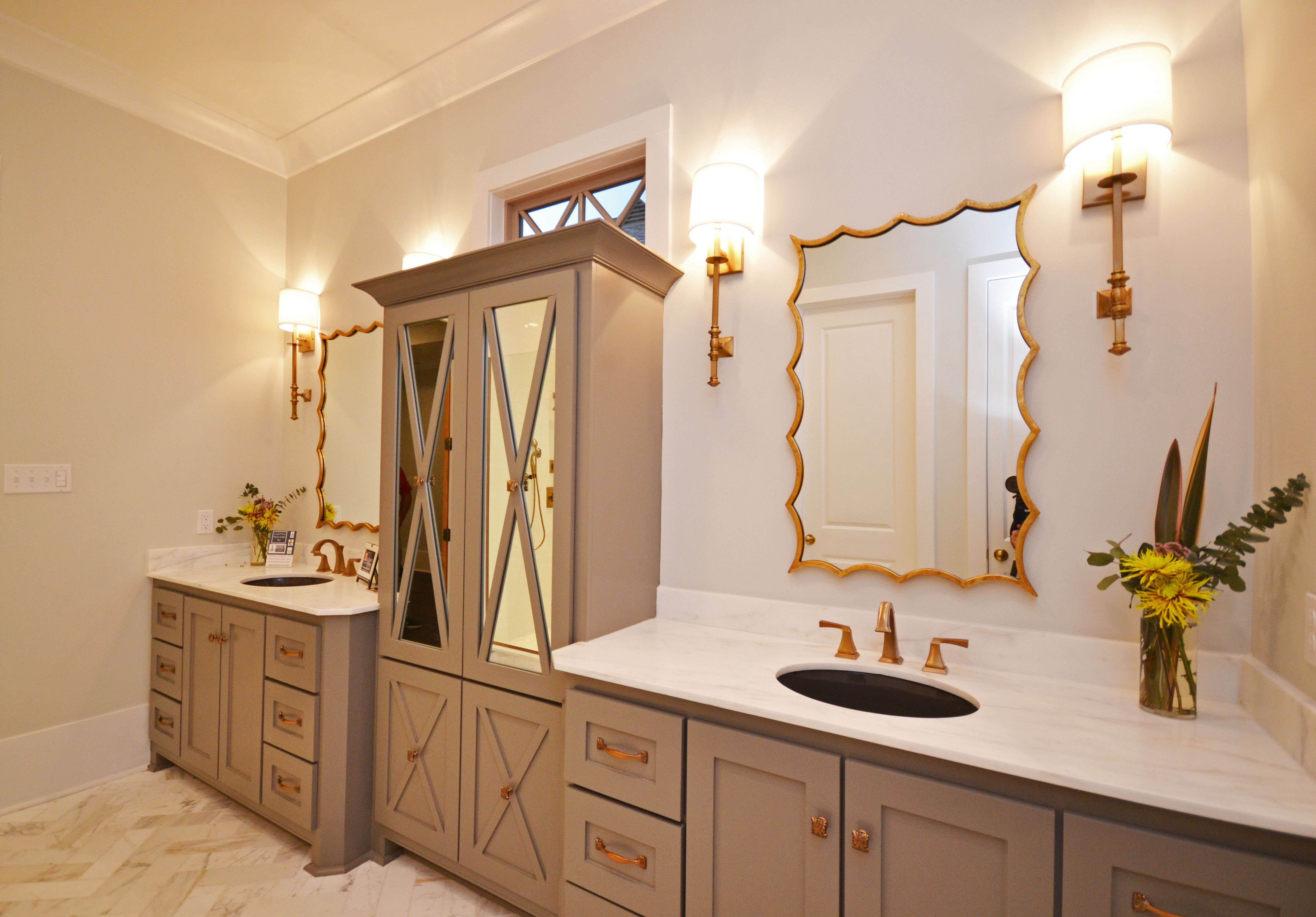 Master Bath with brass hardware Casiewebbdesigns Ketteringham Builders