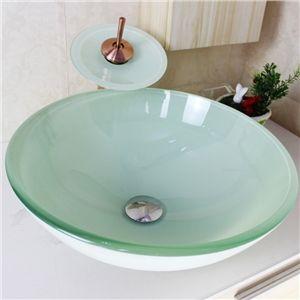 Modern Waschbecken Rund Glas Aufsatz Waschschale mit Wasserfall ... | {Waschbecken rund gäste wc 55}