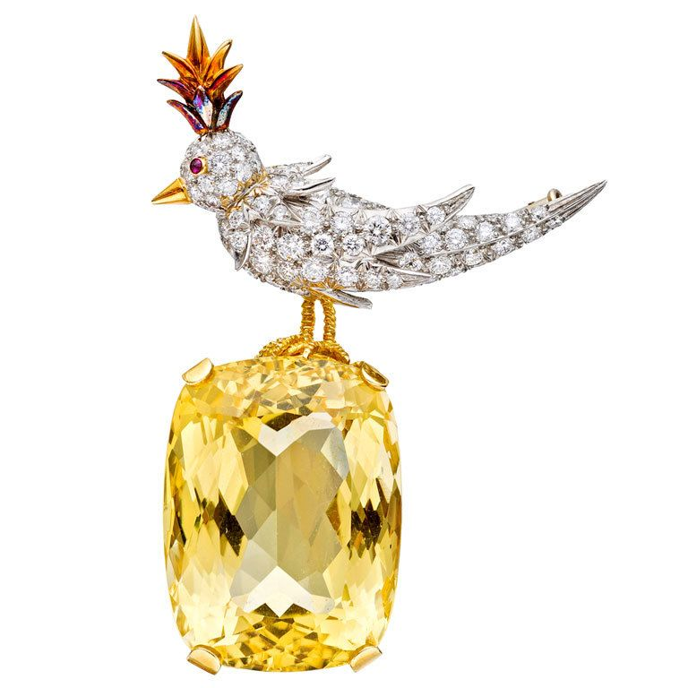2c81628990419 TIFFANY and CO Jean Schlumberger 'Bird on a Rock' Citrine Brooch in ...