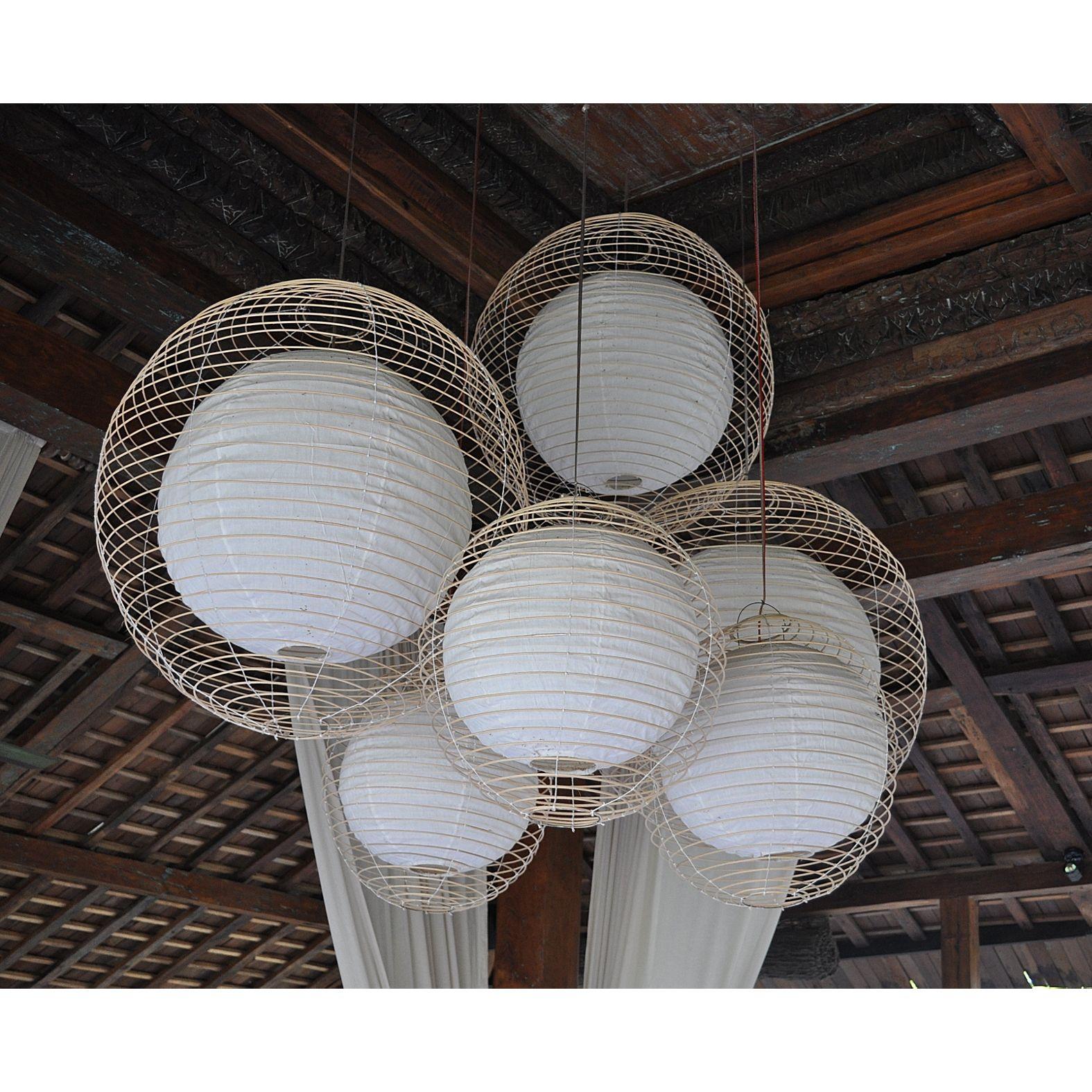 Name: Rattan & Fabric Round Pendant- Large Origins: Bali ...