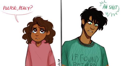 """cindersart: bean was like """"imagine actual big brother percy with five year old piper. he wouldn't be able to say no to anything if she gave him sad eyes"""" and y'all know i am platonic pipercy TRASH so"""