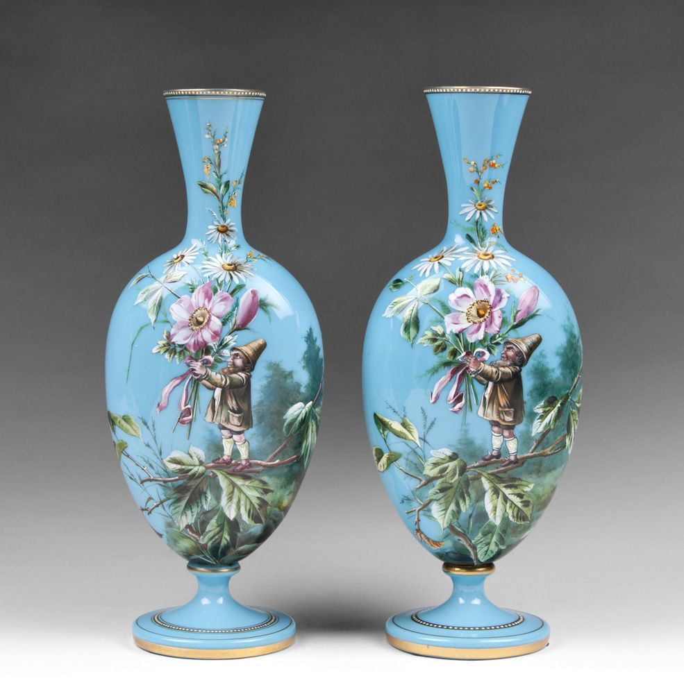 Pair of harrach bohemian opaline glass enamel vases with gnomes pair of harrach bohemian opaline glass enamel vases with gnomes reviewsmspy