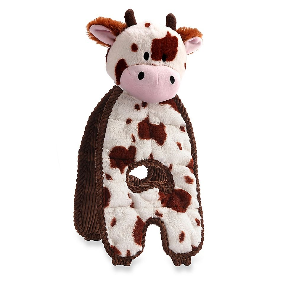 Charming Pet Cuddle Tugs Cozy Cow Dog Toy In Brown White Pet