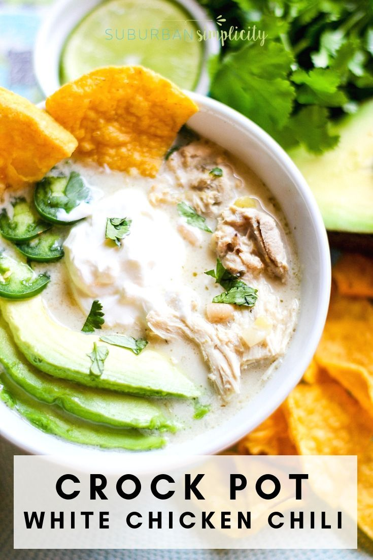 Crock Pot White Chicken Chili #healthycrockpots