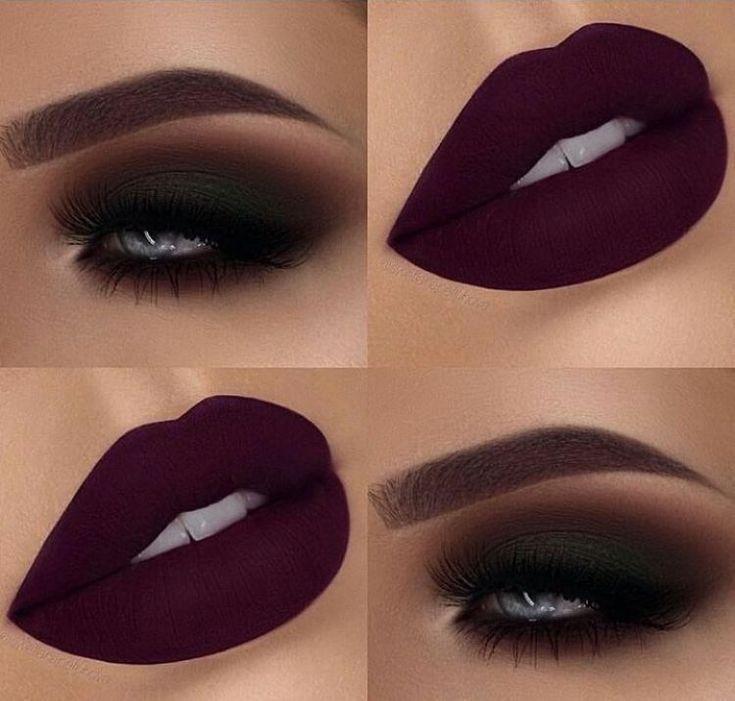 Photo of Matt Burgundy Smokey Eye Makeup with Matte Burgundy Lips – #burgund #burgunder #Eye #Lipp …