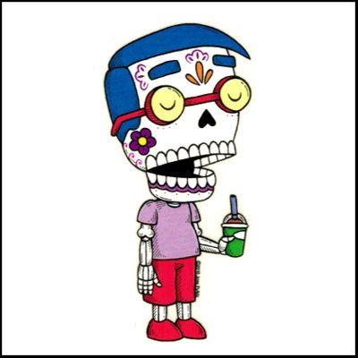 Milhouse simpsons calavera die cut clear vinyl sticker sugar skull day of the dead
