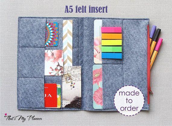 Colorful Notebook Felt Insert A5 Felt Zip Up Wallet Card Holder Pencil Case Midori Filofax Insert Colorful Notebooks Filofax Inserts Sewing Projects