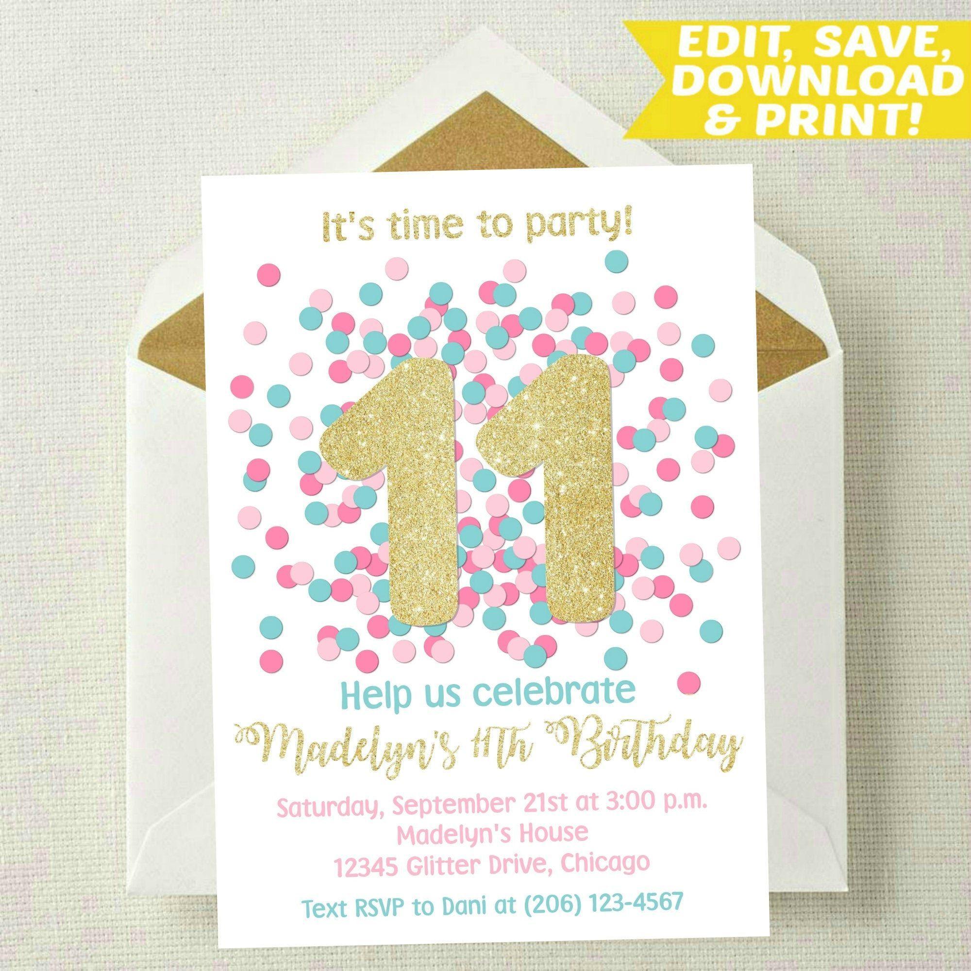 Printable Kids Birthday Invitation Z13 Leaf 11th Birthday Invitation Eleventh Birthday Party INSTANT DOWNLOAD Birthday Invite