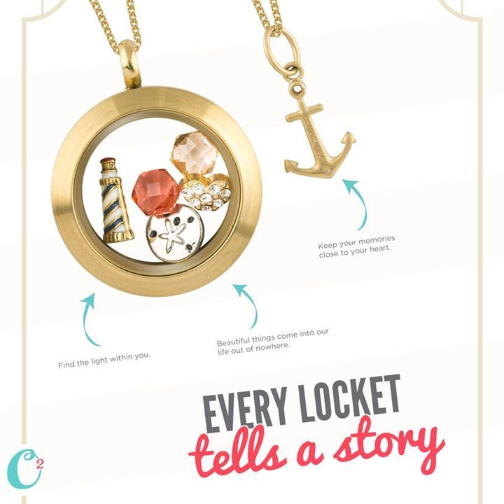 Gold Locket and Anchor Memento...tell your story by customizing your own @ www.BeHOOTifulLocketts.OrigamiOwl.com and follow me @ www.facebook.com/KarenBrownSchoenfeldt