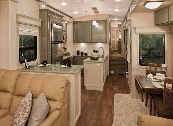 Love the idea of a luxury RV     Nice DRV  The kitchen is