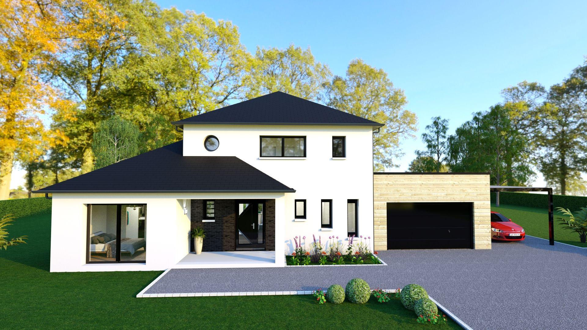 Maison En R 1 Avec 3 Chambres Dont 1 Suite Parentale 1 Bureau Garage A Toit Plat Maisonarlogisnormandi Maison Arlogis Modele Maison Moderne Maison Cubique