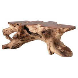 Reclaimed Teak Root Coffee Table. Product: Coffee TableConstruction  Material: Reclaimed Teak RootColor: HoneyFeatures: For Indoor Or Outdoor  UseDimensions: ...