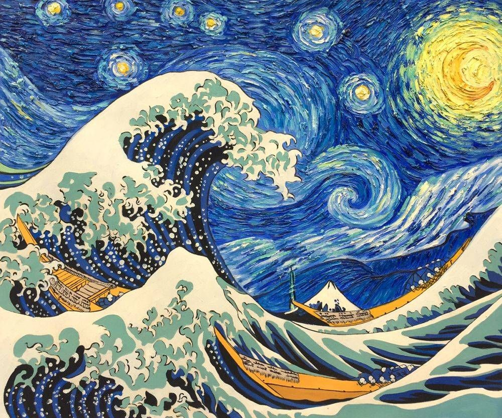 Starry Night Wave Collage La Pastiche Originals Starry