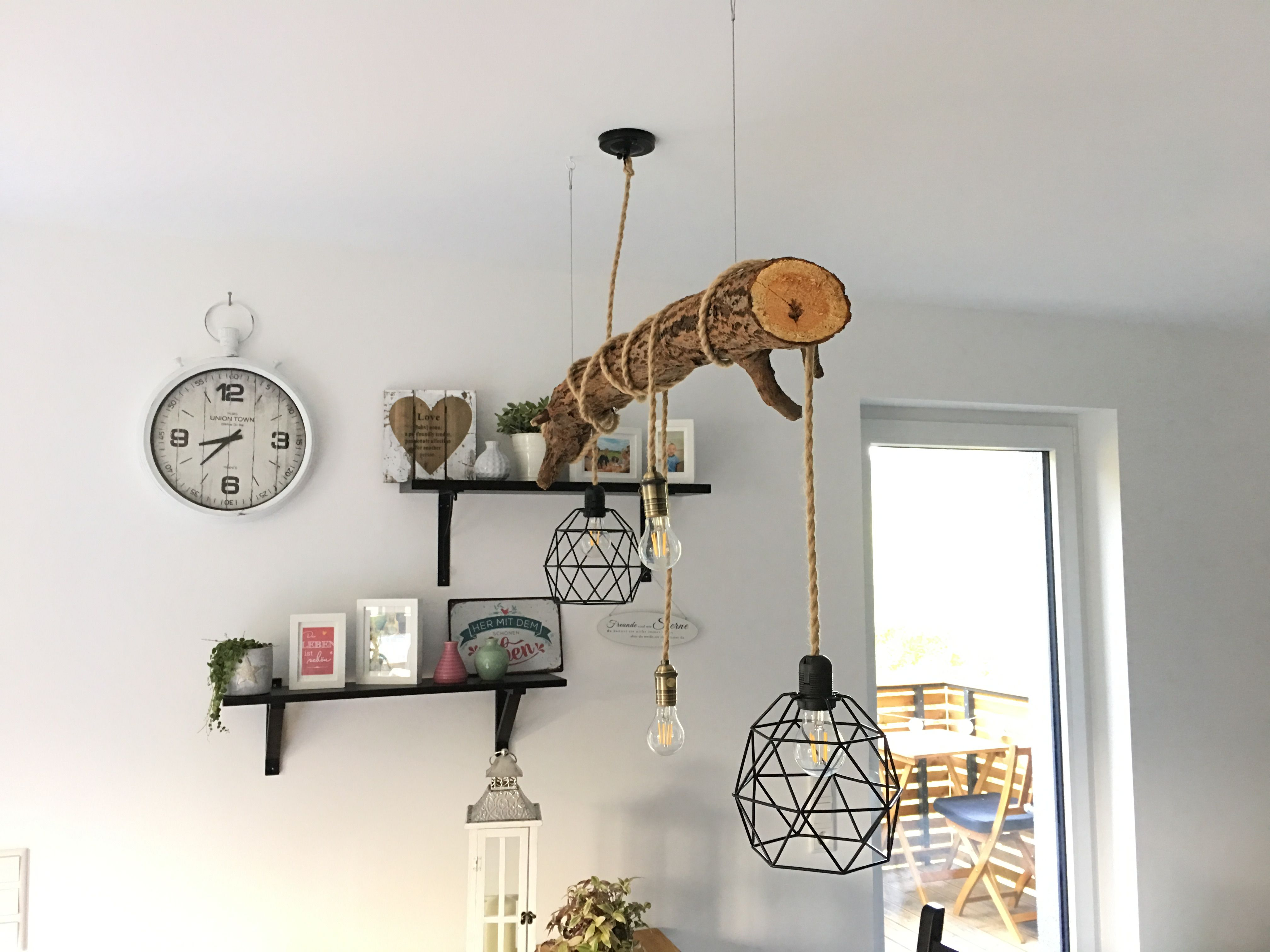 LED Lampe Holz Ast Vintage Esstisch DIY Wood  Selfmade
