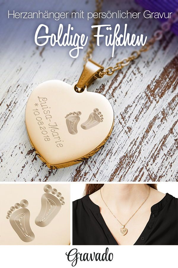 Herz Anhänger Kette mit Gravur – Babyfuß – Gold - Personalisiert ...