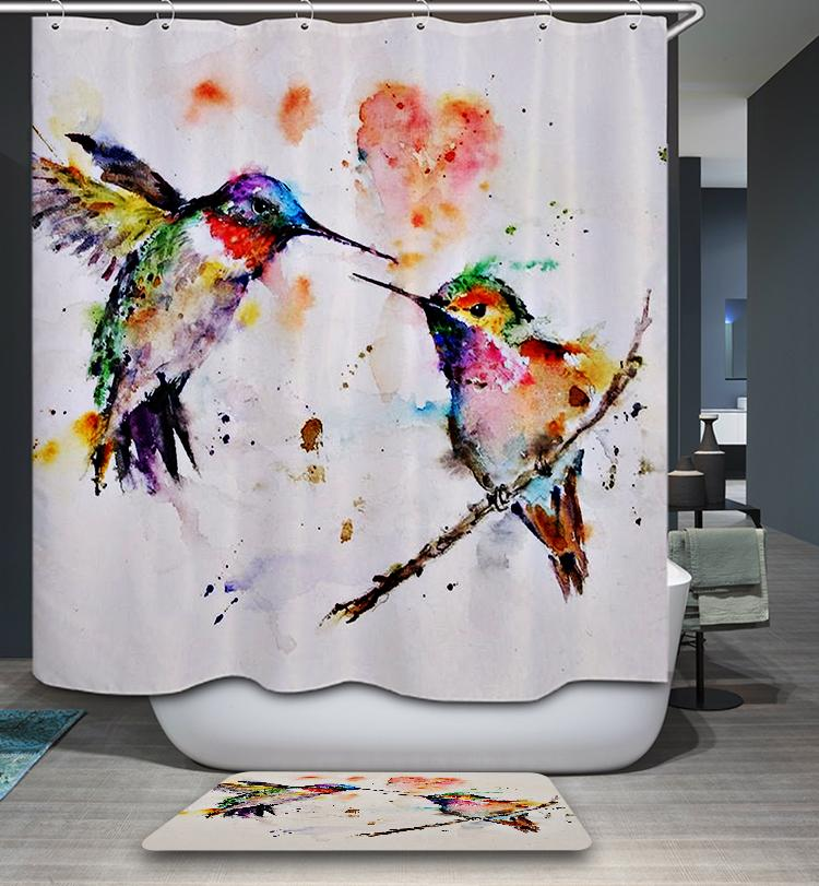 Collection of Hummingbirds Sunflowers Floral Decor Bird Image Shower Curtain Set