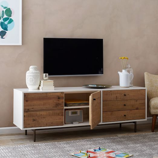 West elm · Reclaimed Wood + Lacquer Storage Long Media, Reclaimed Wood /  White - Reclaimed Wood + Lacquer Storage Long Media, Reclaimed Wood