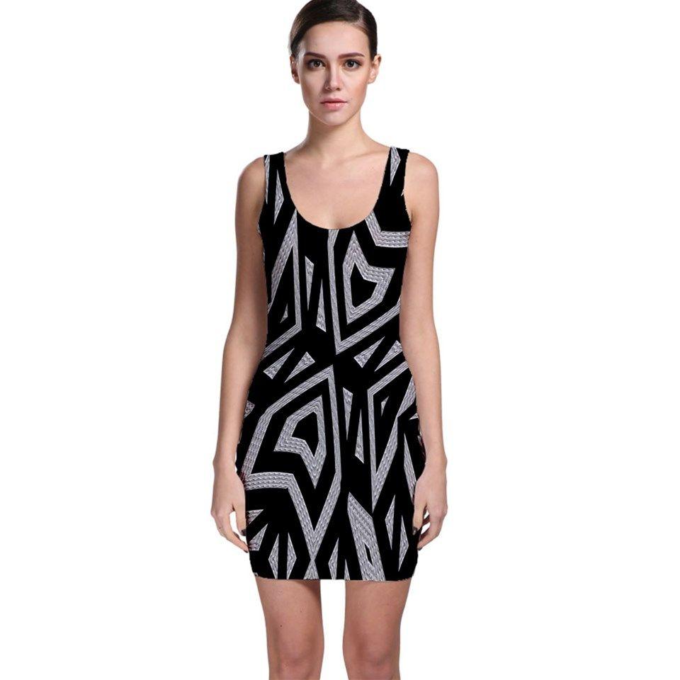 Geometric+Tribal+Print+Bodycon+Dress