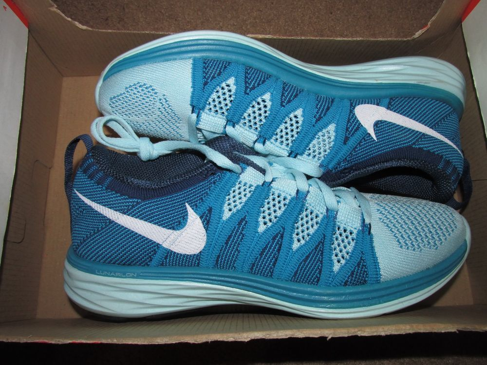 Nike Flyknit Lunar2 Womens Running Shoes 6.5 Glacier Ice Turquoise 620658 400 #Nike #RunningCrossTraining