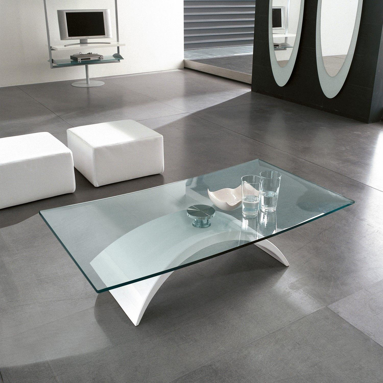 Table basse design ovale en verre Pamela