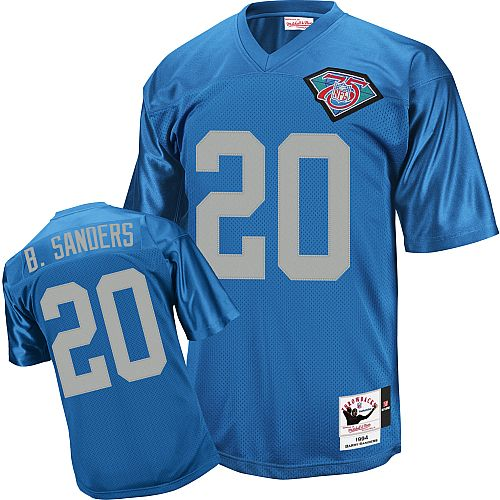 first rate 7fd03 3f95d Mitchell and Ness Detroit Lions #20 Barry Sanders Blue with ...