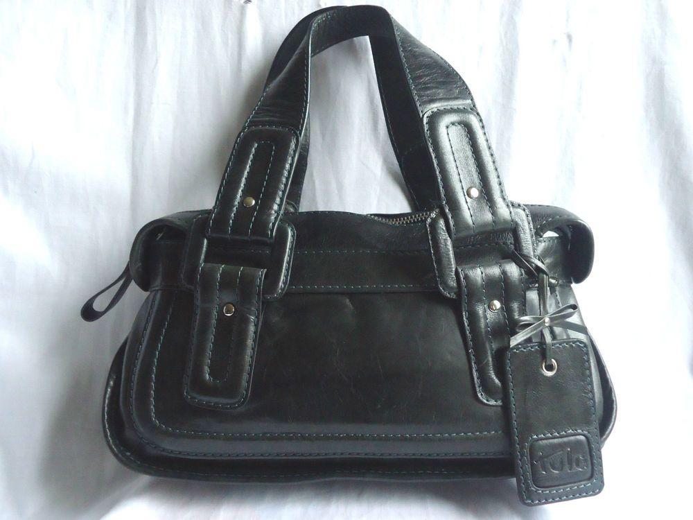 TULA BAG GENUINE LEATHER BLACK DARK GREEN GRAB BAG DOUBLE CARRY HANDLE  MEDIUM ff4f064405c50