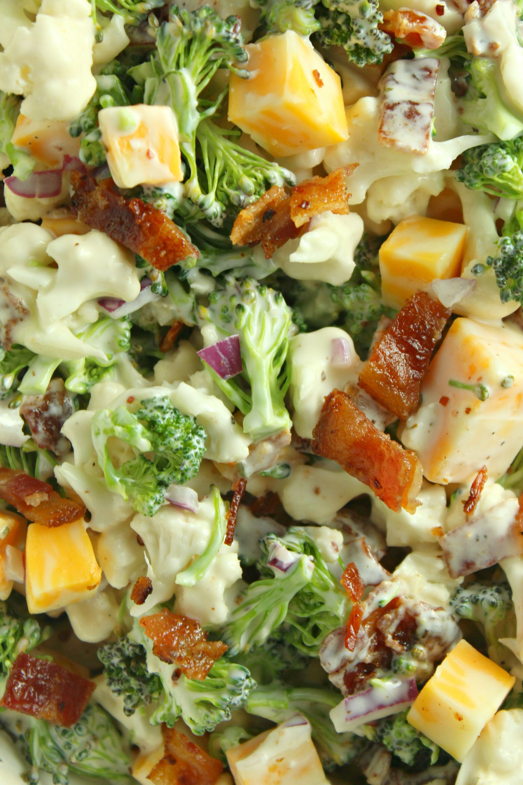Loaded Broccoli Cauliflower Salad (Low Carb) #ketofriendlysalads