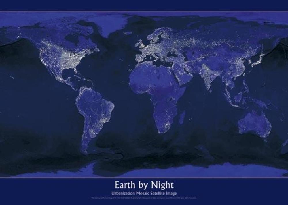 Earth by night urbanization satellite image world map classroom earth earth by night urbanization satellite image world map gumiabroncs Image collections
