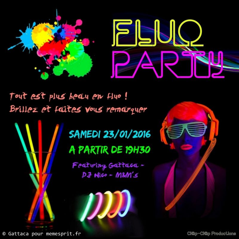 soir e d 39 anniversaire fluo party flyer f te pinterest fluo anniversaires et soiree. Black Bedroom Furniture Sets. Home Design Ideas