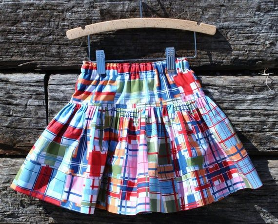 Miss Mouse Summer Madras Bow Head Outfit. Embroidered Shirt + Plaid Twirl Skirt. 6m-12yr