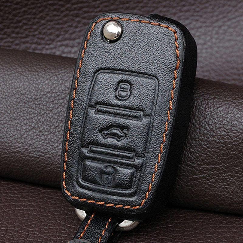 genuine leather car key cover case set wallet for vw polo. Black Bedroom Furniture Sets. Home Design Ideas